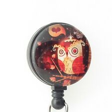 Cute Owl on Black Badge Reel - Bird Badge Reel - 265