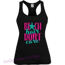 Womans Racerback Tank Top Graphic Funny Saying Beach Hair Dont Care Swimming