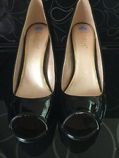 Ladies Black Patent Peep Toe Shoes Size6
