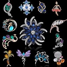 Wedding Bride Flower Girls Peacock Rhinestone Crystal Brooch Pin Women Gifts New