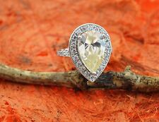925 Sterling Silver Ring with Yellow CZ Surrounded By Clear CZ Stones Brand New
