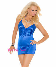 Sexy ROYAL BLUE MINI DRESS HALTER Ruched Front & Back SATIN SPANDEX Clubwear