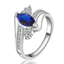Women Silver Plating Oval Blue Zircon Rings For Party Wedding