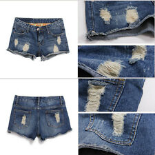 Women Girl Vintage Low Rise Ripped Denim Distressed Hole Short Jeans Shorts 2016