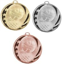 BASKETBALL MEDALS GOLD SILVER BRONZE W/ NECK RIBBON MIDNIGHT STAR DESIGN