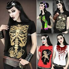 NEW Womens Skull  Punk Rock T-shirt Cool Undead Zombie Goth Tee Shirt Top D0X8