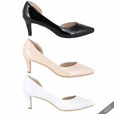 Womens Ladies Patent Low Kitten Heel Court Pumps Pointed Toe Work Office Shoes