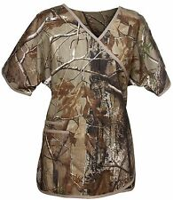Real Tree Women's Camo Mock Wrap Scrub Top