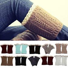 Women Lady Crochet Knitted Lace Trim Boot Cuffs Toppers Leg Warmers Socks
