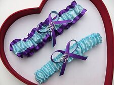 NEW Gorgeous Wedding Garter Aqua Purple Prom Homecoming Dance Double Heart