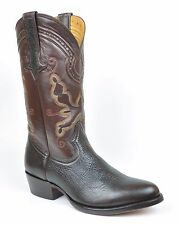 Gavel Men's Handcrafted Genuine Bullhide Leather Western Cowboy Boots Brown