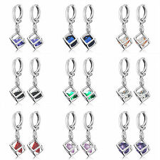 Womens silver plated cute rainbow crystal new small dangle Drop earrings