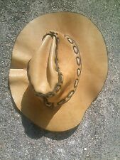 light Brown Leather Hat Stetson Style Cowboy Country Western Hand Made