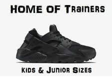 NIKE AIR HUARACHES RUN(GS)''BLACK OUT''KIDS/JUNIOR TRAINER TRIPLE BLACK ALL SIZE