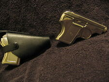 STAINLESS STEEL PISTOL LIQUOR FLASK WOW !!! AND LEATHER HOLSTER (novelty item)