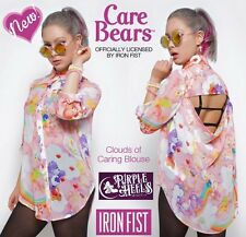 Iron Fist Care Bears Pink Rainbow Clouds of Caring Blouse ❤ S - XXL