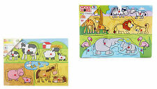 Wood Works Wooden Peg Puzzles Farm Animals and Safari Animals One Piece Supplied