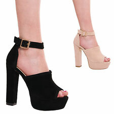 LADIES WOMENS PEEP TOE FASHION HIGH HEEL SUMMER STYLE PARTY FORMAL EVENING SHOES