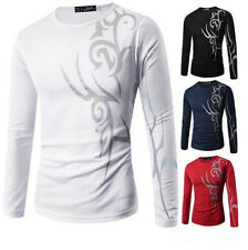 Long Sleeve Mens Round Neck Slim Fit Casual Hot T-Shirt Tattoo Print Top New