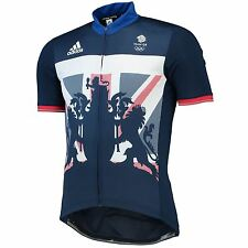 adidas Team GB Mens Replica Cycling Training Breathable Short Sleeve Zip Jersey