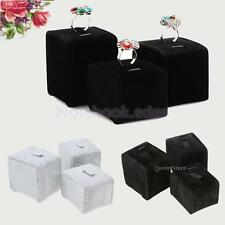 3pcs/Set Earring Ring Jewelry Velvet Display Stand Holder Organizer S/M/L Gift
