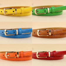 Fashion New Cute Women Buckle Candy Color Girl Narrow Thin Skinny Leather Belt