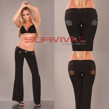 Womens Black Pants Bootleg Flare Cut New Sexy Low Rise Crown Pockets Size 12