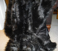 Pure Black Faux Fox Fur Throw Fake Fur Throw Blanket 2 Sizes Available