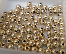 Gold Filled 3mm Round Beads Smooth CHOOSE Seamless or Seamless Look
