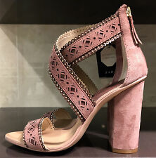 NEW ZARA LEATHER LASER CUT OUT HIGH HEEL MAUVE LEATHER SANDALS SHOES Ref1540/101