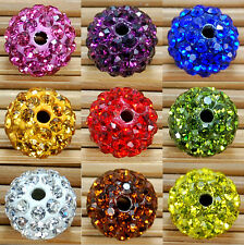10Pcs Round Czech Disco Ball Crystal Rhinestones Pave Spacer Beads Clay