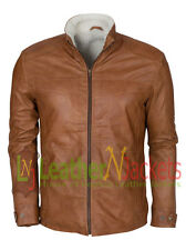 On sale 20% Discount On Brown Vintage Waxed Fur Lined Genuine Leather Jacket