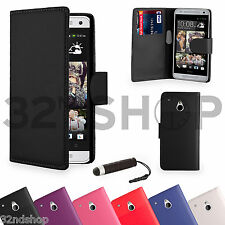 WALLET PU LEATHER CASE COVER FOR HTC One Mini (M4) FREE SCREEN PROTECTOR