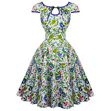 Hearts & Roses London Snow White Winter Floral Retro Vintage 1950s Party Dress