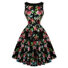 Hearts & Roses London Rose Black Floral Vintage 1950s Party Pinup Dress UK