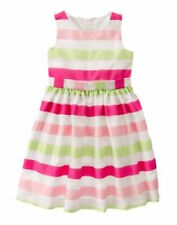 Nwt Gymboree Egg Hunt Pink and Pastel Green Striped Easter Dress Size 5/7