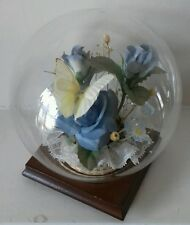 Real butterfly in glass dome with blue faux flowers taxidermy vintage