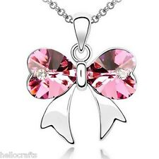 HC Women Lady Ms. Korean love crystal bow pendant clavicle chain Necklace Gift