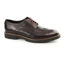 Base London TRENCH Mens Washed Leather Fashion Formal Brogue Shoes Bordeaux