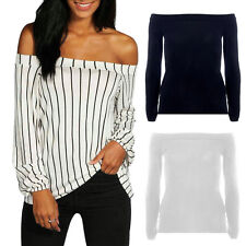 Fashion Women Ladies Off Shoulder Stripe Cuffed Long Sleeve Swing Tops Blouse NE