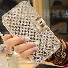 Bling Diamond Rhinestone Bow Wallet PU Leather Stand Case Cover For HTC model