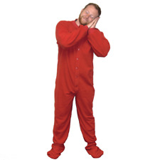 Red Fleece Adult Footed Pajamas Footie Drop Seat Mens Womens PJs Soft Comfy