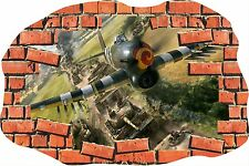 Broken Brick Crack Fighter Plane Spitfire Army Wall Sticker Vinyl GA32-310