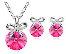 2016 New Women Lady Wedding Jewelry Crystal Butterfly Knot Necklace Earring Sets