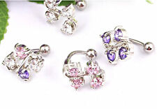 Vine Reverse Navel Belly Ring Clear,Pink, Tanzanite or Multi  CZ 14g