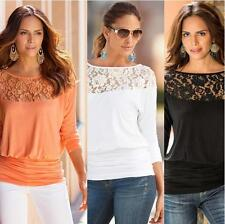 Autumn European Style Lace Joining Together T-shirt Long Sleeve Casual Tshirt