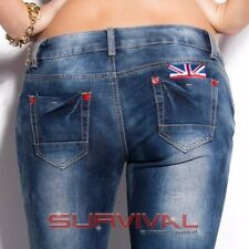 Womens New Skinny Blue Jeans Vintage Sexy Low Rise Hipster UK Motif Sz 6 8 10 14
