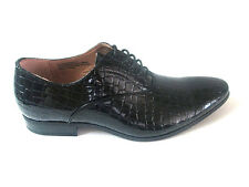 Adolfo Men Black Croco Embossed slip-On Leather Dress Shoes*Lace Up*CADDY-1