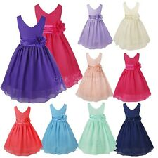 Flower Girl Dress Chiffon Party Wedding Princess Tulle Pageant Size 2-14 Formal