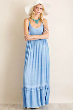 Acid wash solid spaghetti strap scoop neck maxi dress with empire waist